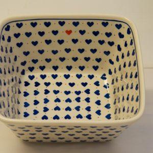 Polish Pottery Large Square Bowl Small Hearts