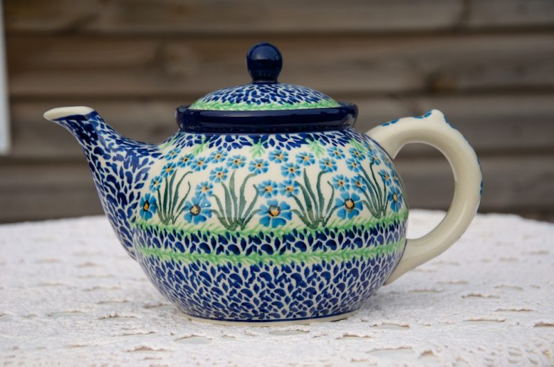 Polish Pottery Forget Me Not Teapot