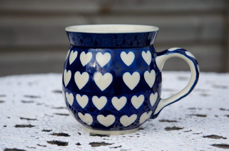 Polish Pottery Round Mug Blue Heart Pattern