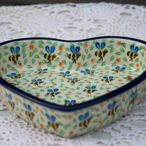 Polish pottery Bee pattern Shallow Heart Shaped Dish