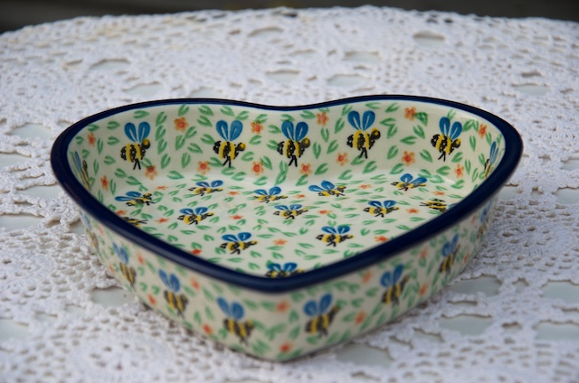 Polish pottery Bee pattern Shallow Heart Shaped Dish