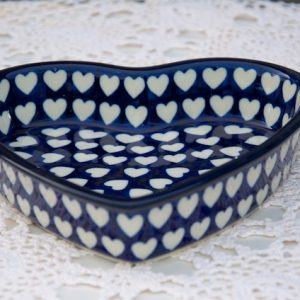 Polish Pottery Blue Hearts Pattern Shallow Heart Dish