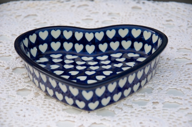 Polish Pottery Blue Hearts Pattern Shallow Heart Dish