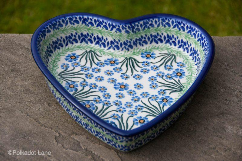 Forget Me Not Pattern Shallow Heart Dish from Polkadot Lane Polish Pottery UK