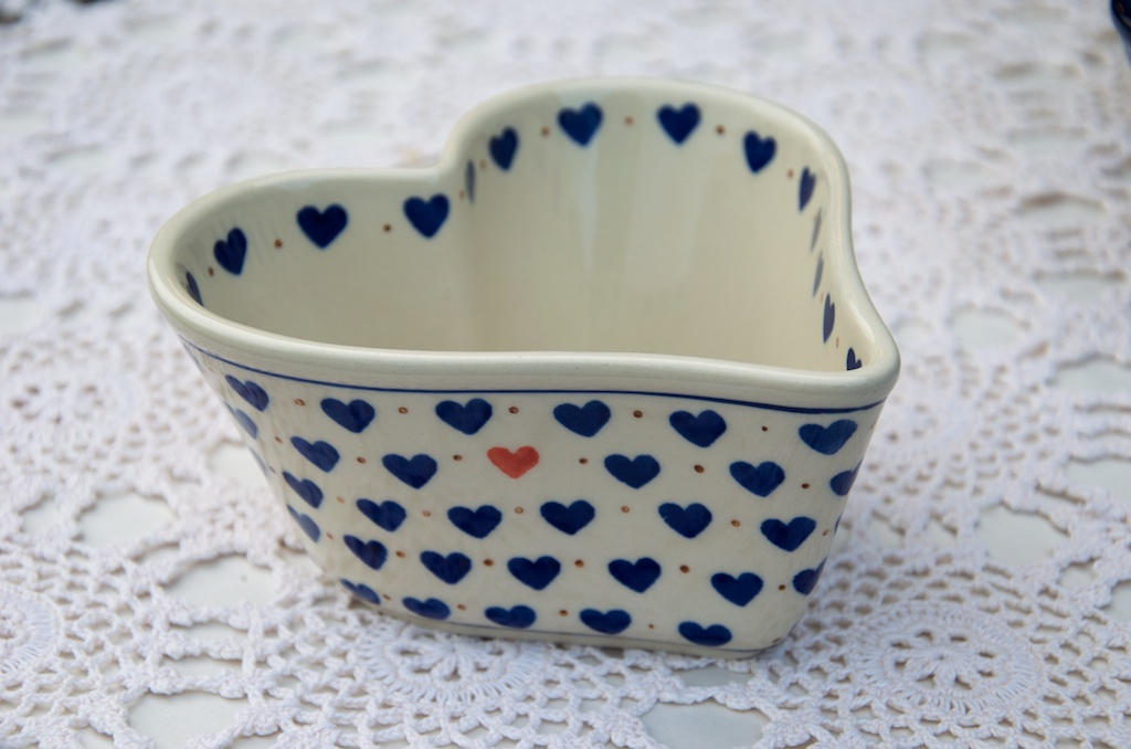 Polish Pottery Small Hearts Pattern Small Heart Shaped Dish