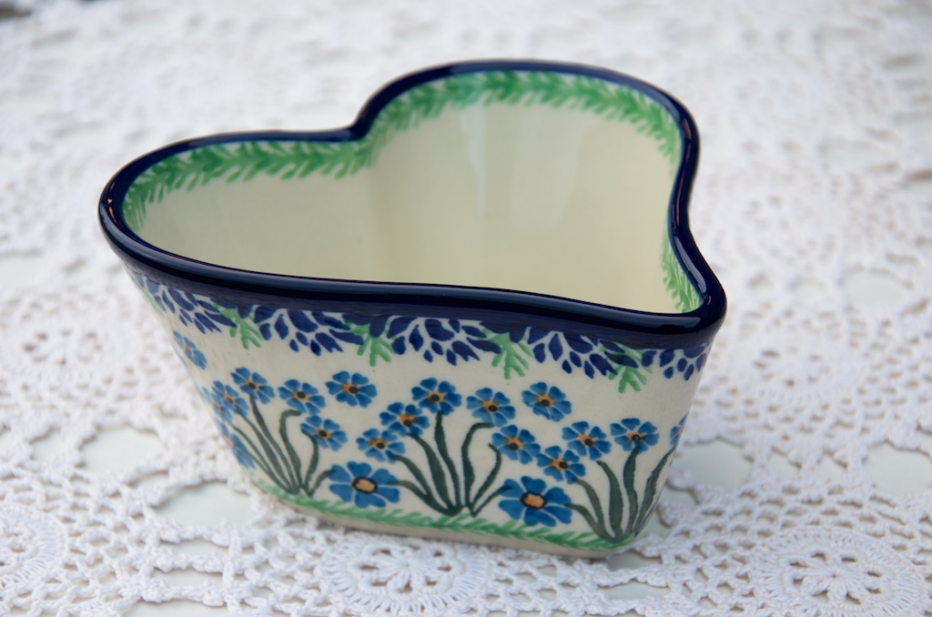 Polish Pottery Forget Me Not Small Heart Shaped Dish