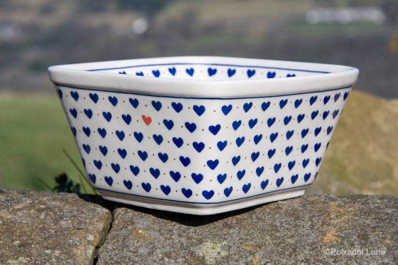 Polish Pottery Small Hearts Pattern Large Square Bowl