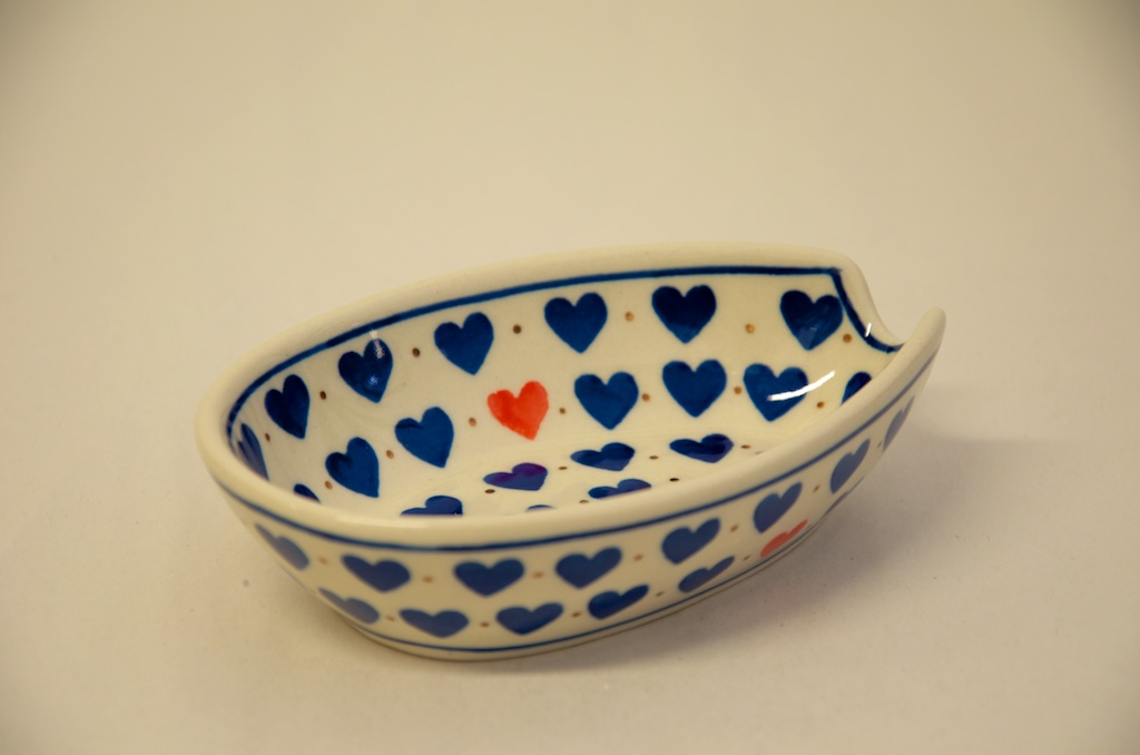 Polish Pottery Small Heart Pattern Spoon Rest