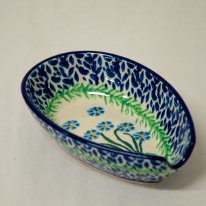 Polish Pottery Forget Me Not Spoon Rest