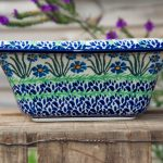 Polish Pottery Square Dish With Rim Forget Me Not