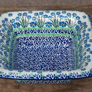 Polish Pottery Forget Me Not Square shaped bowl