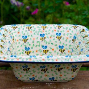 Polish Pottery Bee Pattern Square Dish