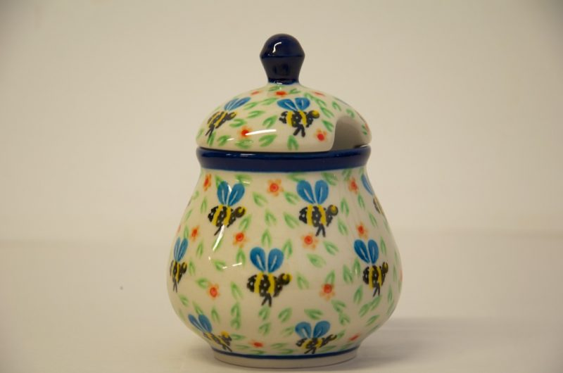 Polish Pottery Sugar Bowl Bee Pattern