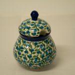 Polish Pottery Blue Berry Leaf Sugar Bowl