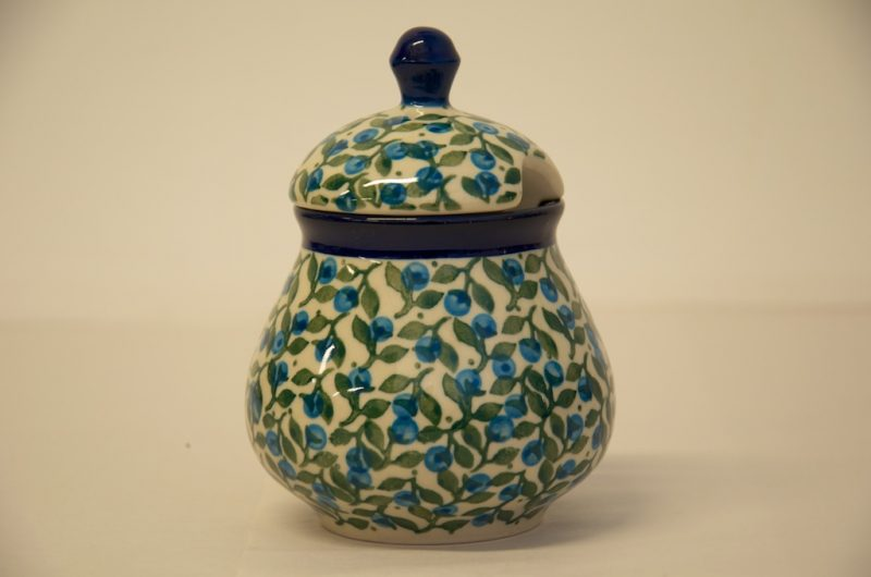 Polish Pottery Sugar Bowl Blue Berry leaf