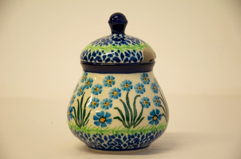 Polish Pottery Forget Me Not Sugar Bowl