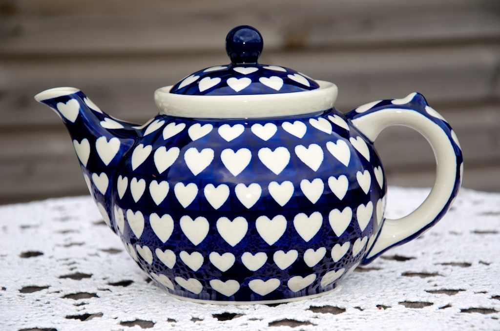 Polish Pottery Blue Heart Pattern Teapot