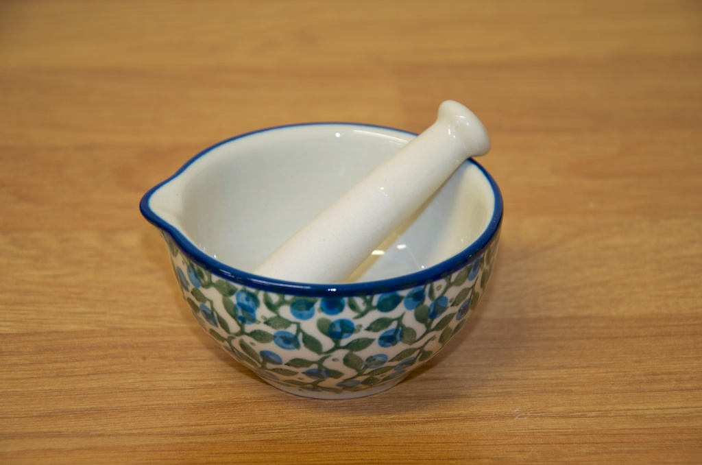 Polish Pottery Blue Berry Leaf Pestle and Mortar