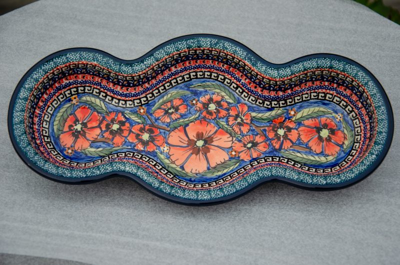 Polish Pottery Poppy Pattern Wavy Shaped Serving Dish