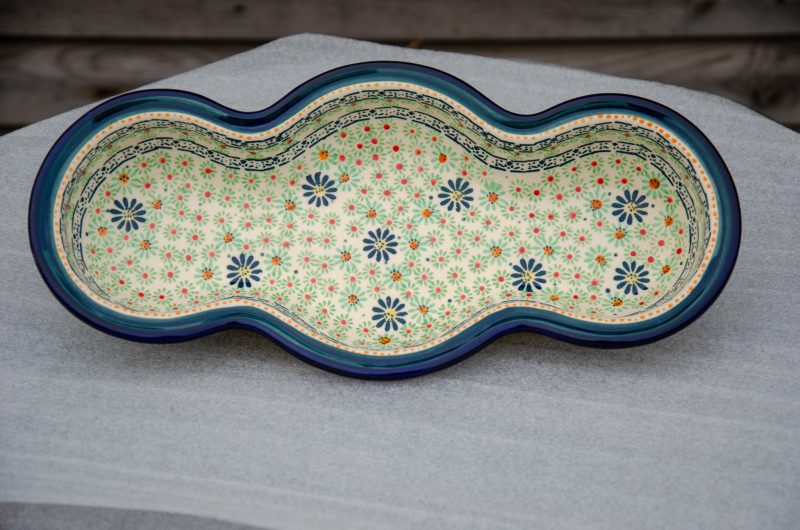 Polish Pottery Light Green Wavy Dish with Green and Small Red Flowers