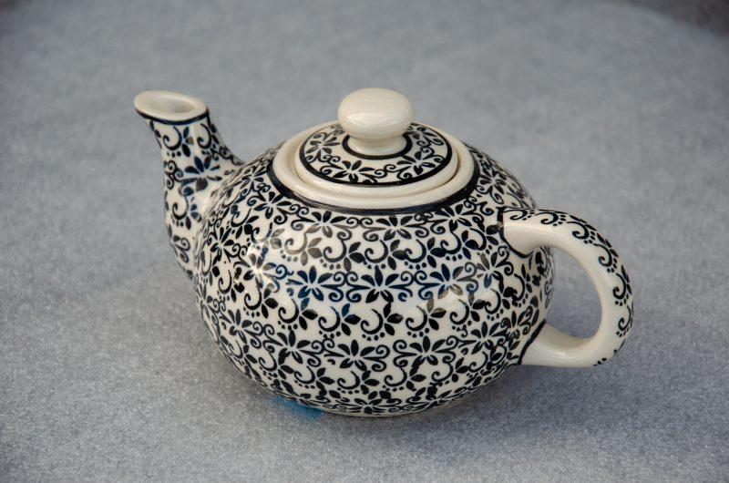 Polish Pottery Black Trellis Small Teapot From Ceramika Zaklady.