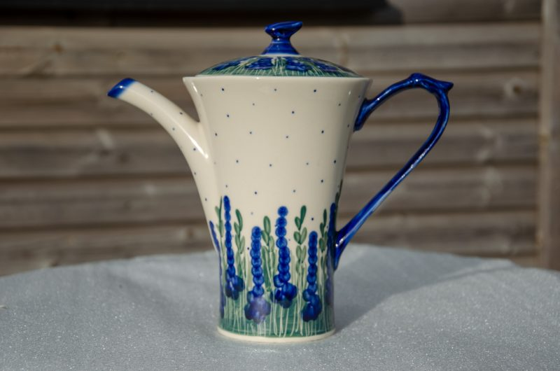 Tall Curved Teapot Andy Ceramika decorated in Delphinium Flowers