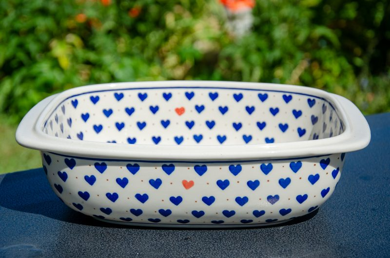 Small Hearts Large Deep Oven Dish from Polkadot Lane UK