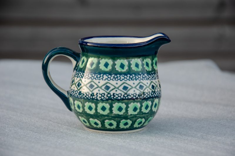 Polish Pottery Green Diamond Pattern Creamer
