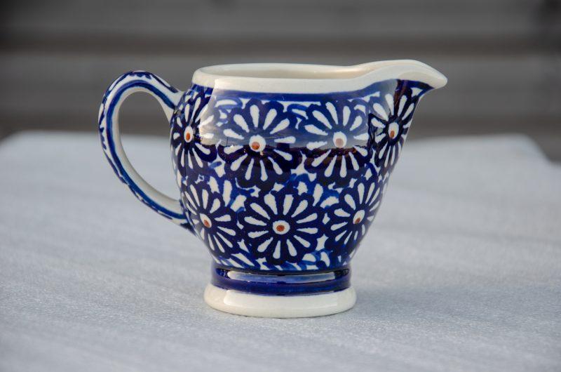 Polish Pottery Large Blue Daisy Creamer