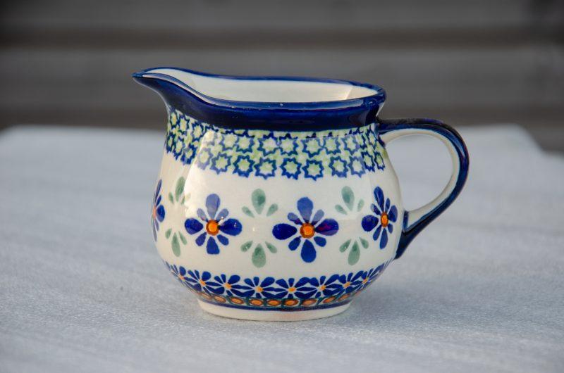 Polish Pottery Green Orange Flower Creamer by Ceramika Zaklady