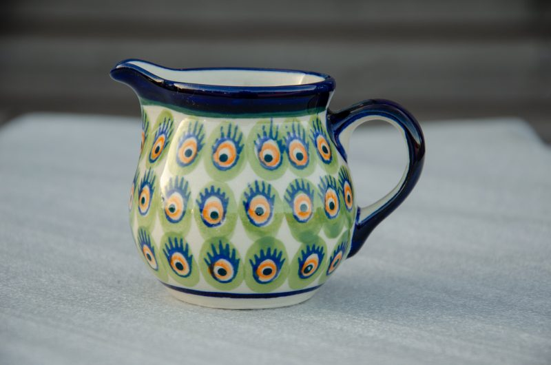 Polish Pottery Green and Orange Peacock Spot Pattern Creamer