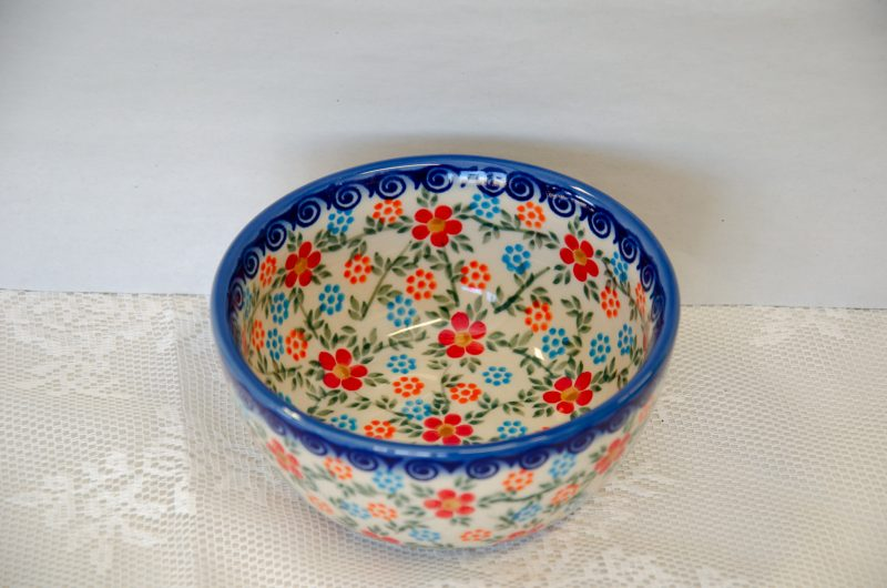 Polish Stoneware Pottery Andy Bowl Red Blue Pattern