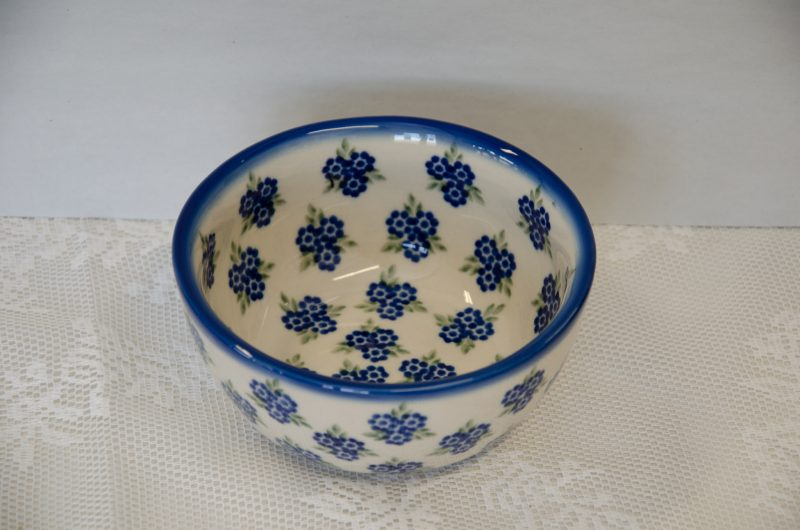 Polish Pottery Andy Bowl Forget me Not Pattern by Ceramika Andy Boleslawiec.