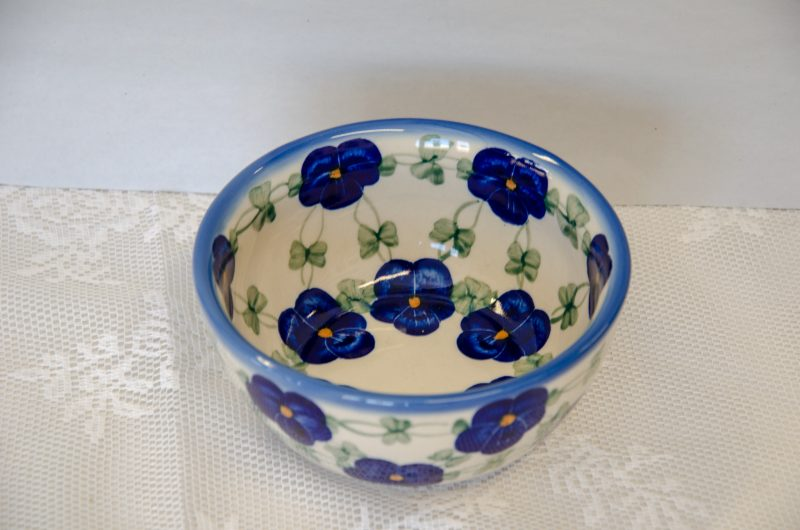 Polish Pottery Andy Bowl Blue pansy Pattern
