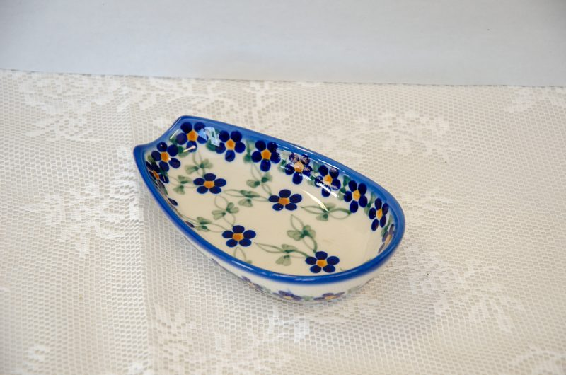 Polish Pottery Andy Flower Trellis Pattern Spoon Rest
