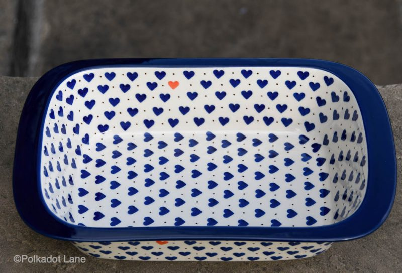 Small Hearts pattern Large Deep Oven Dish by Ceramika Artystyczna