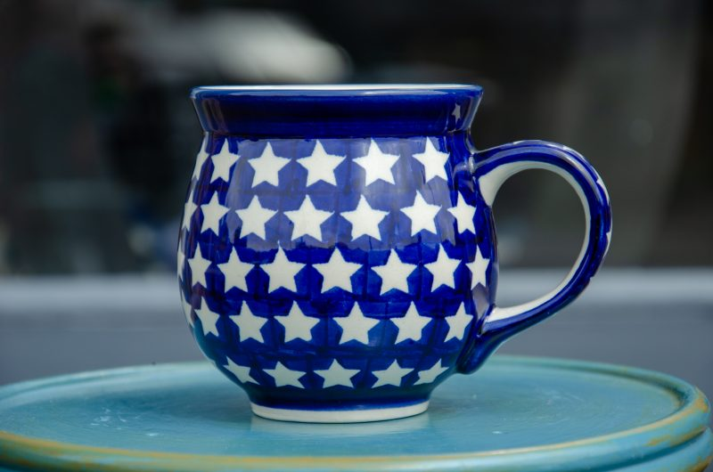 Large Round Mug decorated in White Star design.