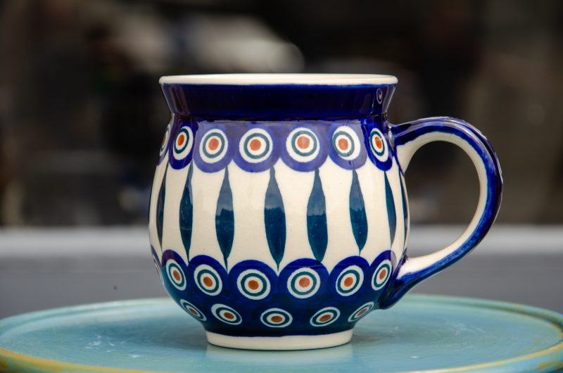 Polish Pottery Large Round Mug Peacock and Leaf by Ceramika Manufaktura