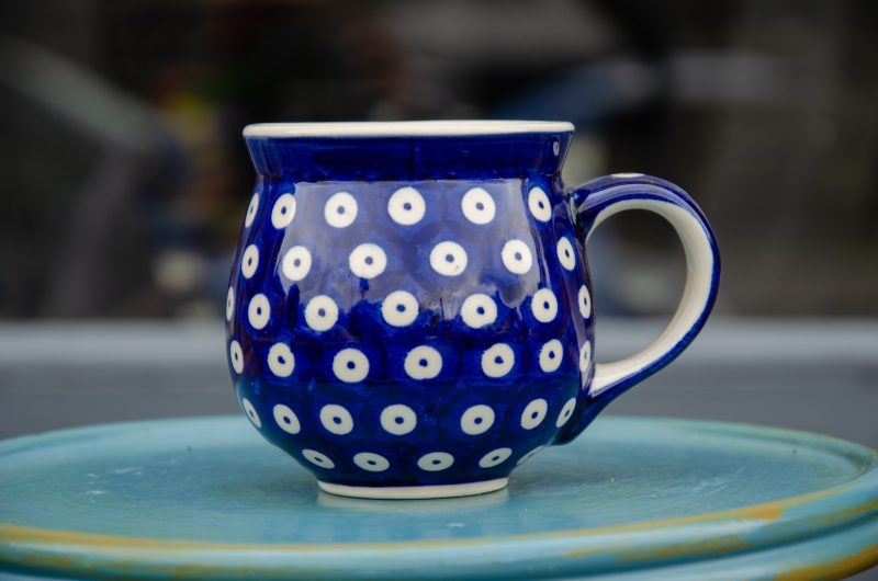 Polish Pottery Dark Blue Spotty mug From Polkadot Lane UK
