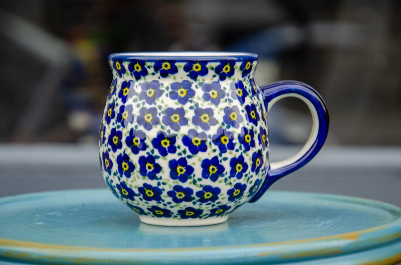 Polish Pottery Ditzy Blue Flower Mug Unikat Polish Pottery