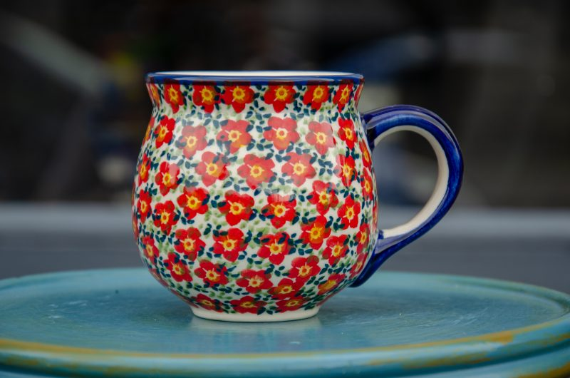 Polish Pottery Ditzy Red Flower Mug by Ceramika Manufaktura