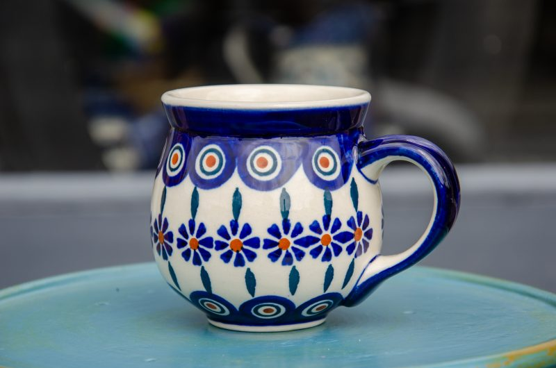Peacock Flower Mug Polish Pottery By Ceramika Manufaktura