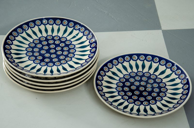 Polish Stoneware pottery Set of 6 Peacock Leaf Dinner Plates