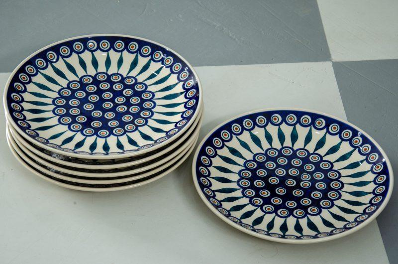 Polish Stoneware pottery Set of 6 Peacock Leaf Dinner Plates