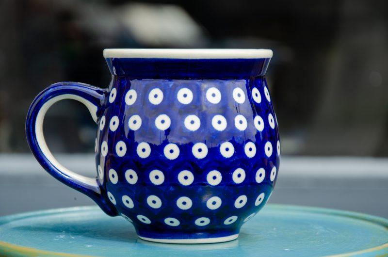 Large Round Mug Boleslawiec Dark Blue Spot