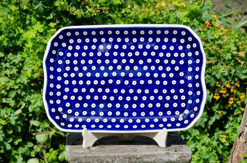 Blue Spotty Pattern Serving Plate from Polkadot Lane UK