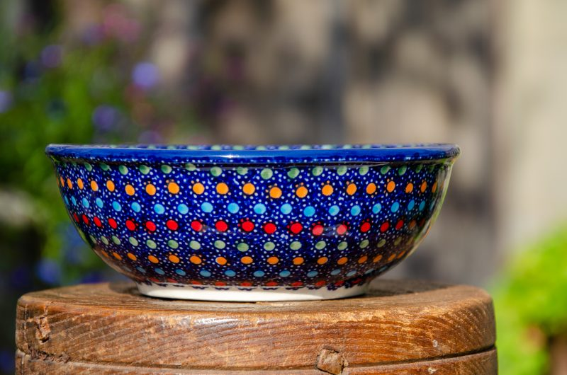 Dessert Bowl Neon Pattern Polish Pottery