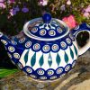 Polish Pottery Peacock Leaf Teapot by Ceramika Manufaktura