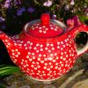 Polish Pottery Unikat Teapot White Flowers on Red by Ceramika Manufaktura