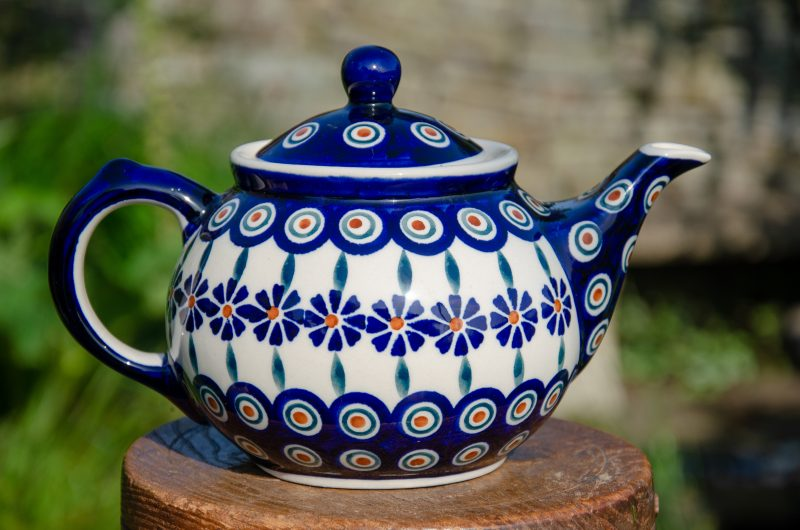 Polish Pottery Peacock Flower Teapot From Polkadot Lane UK
